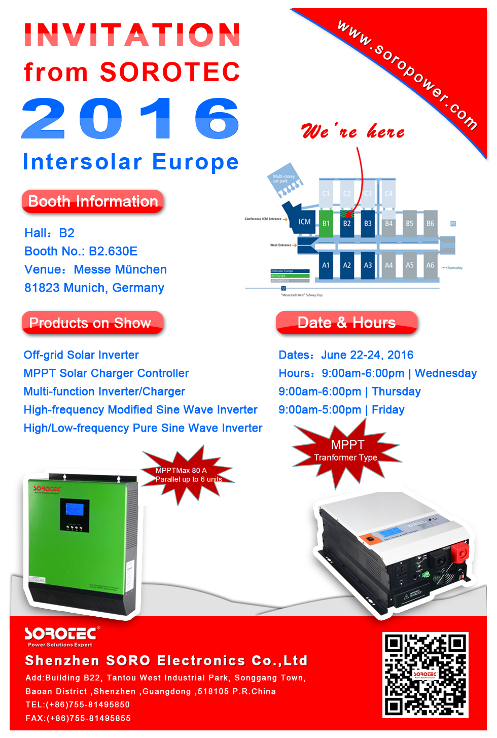 SOROTEC will attend the 2016 Intersolar Europe( Germany )in June